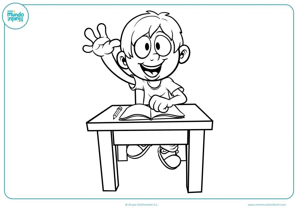 Colorea el dibujo de un niño con la mano levantada en clase