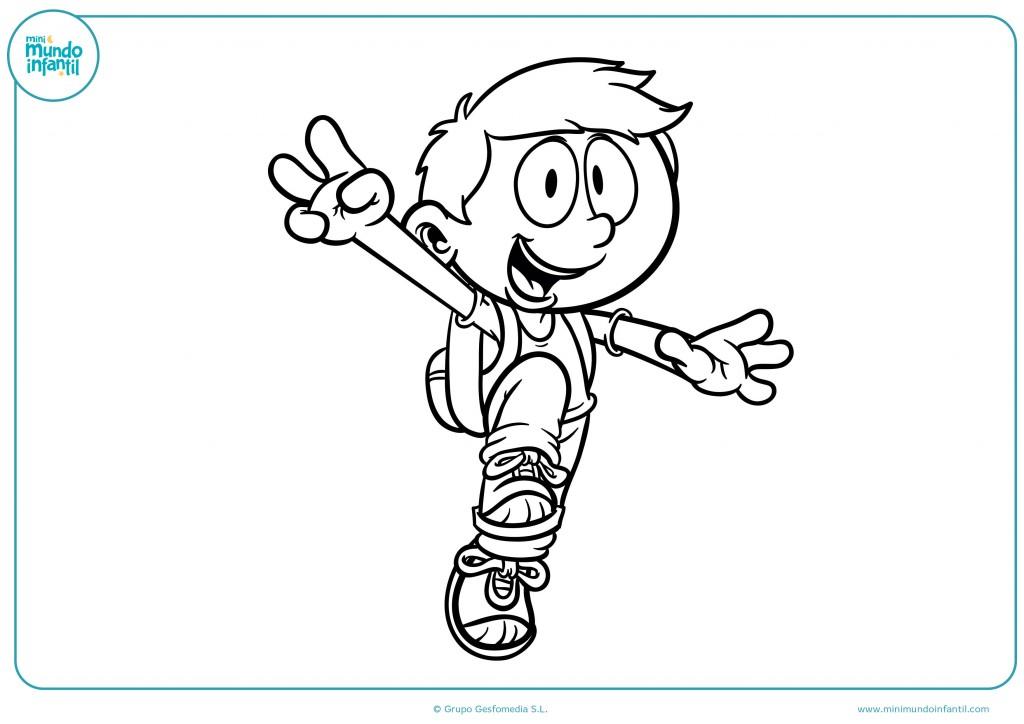 Pinta con colores el dibujo del niño con la mochila
