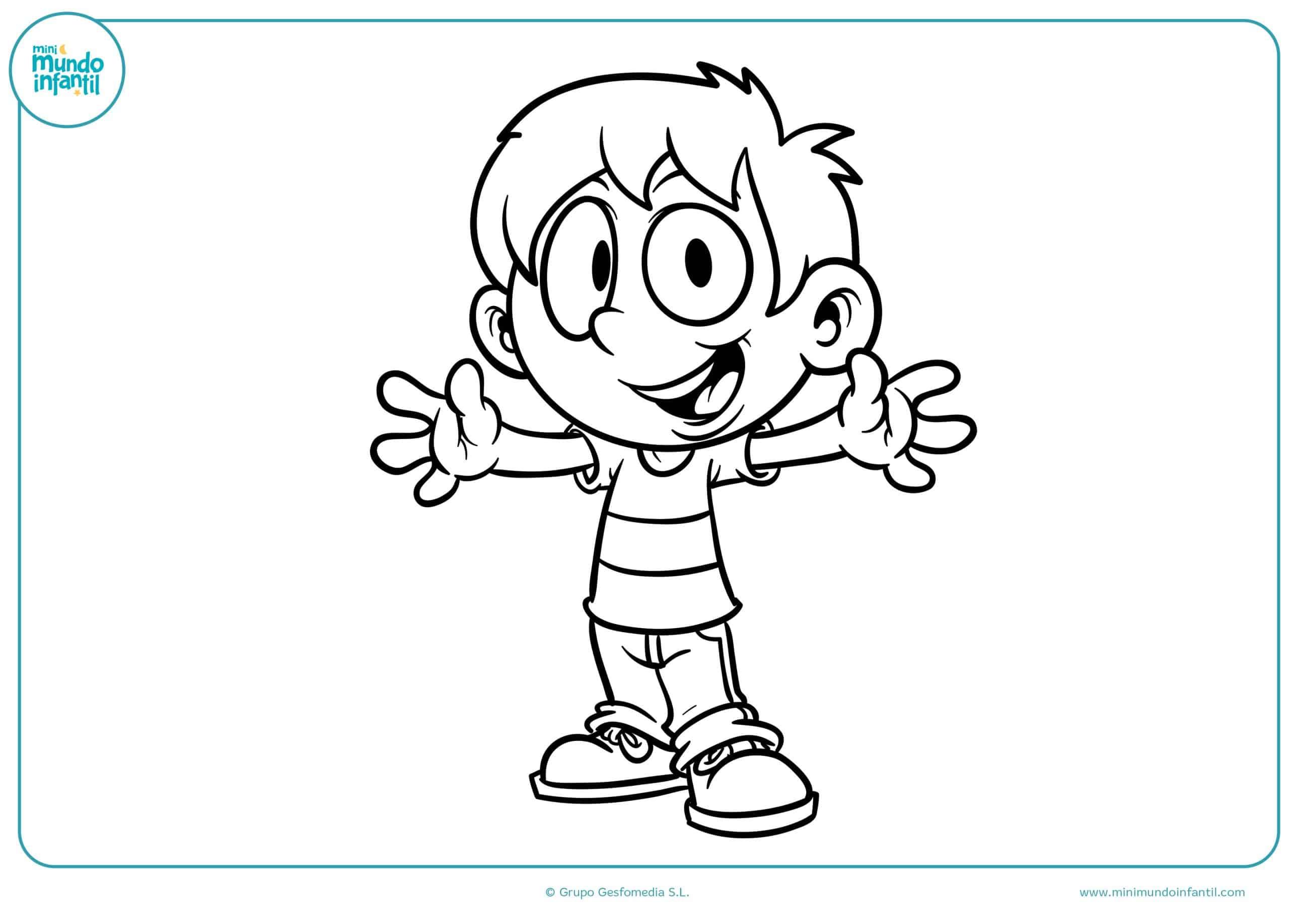 Descargar dibujo jugando niños niñas colorear gratis