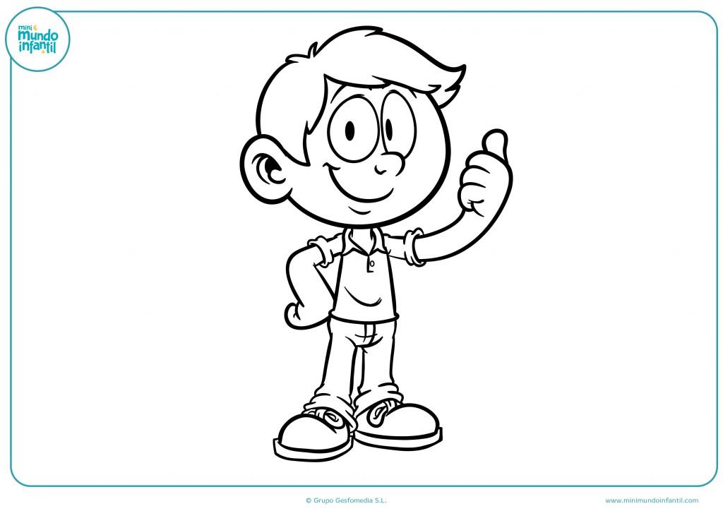 Descarga este dibujo de un niño señalando