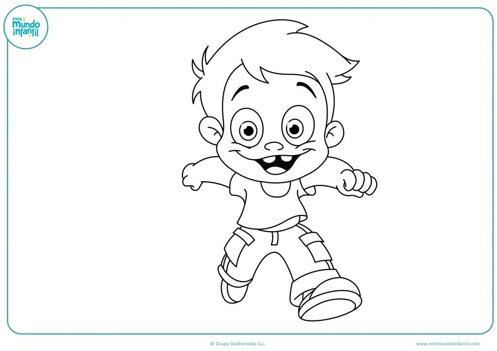 Pinta de colores el dibujo del niño corriendo