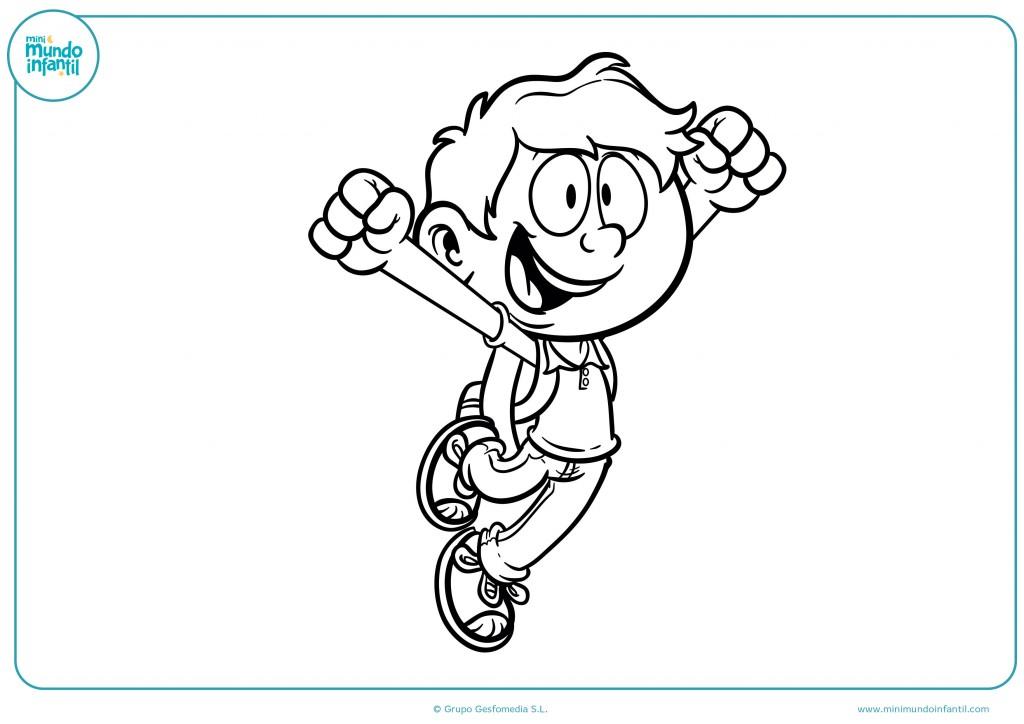 Descarga el dibujo del niño saltando