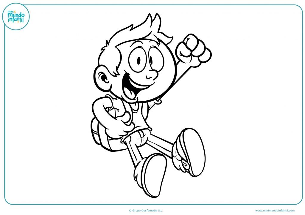 Colorea el dibujo de este niño contento