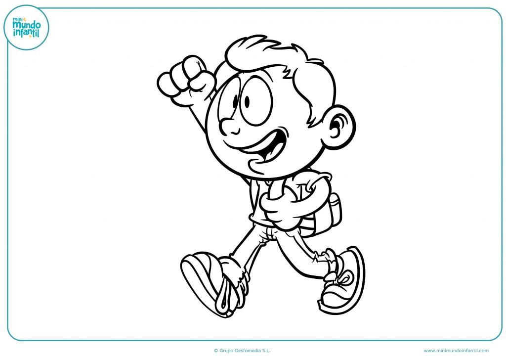 Descarga y colorea el dibujo del niño que va al colegio