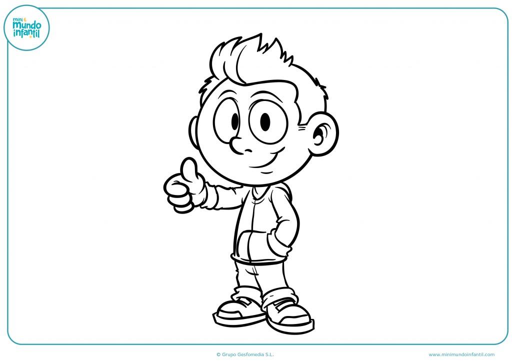 Pinta este dibujo de un niño con el pelo de punta
