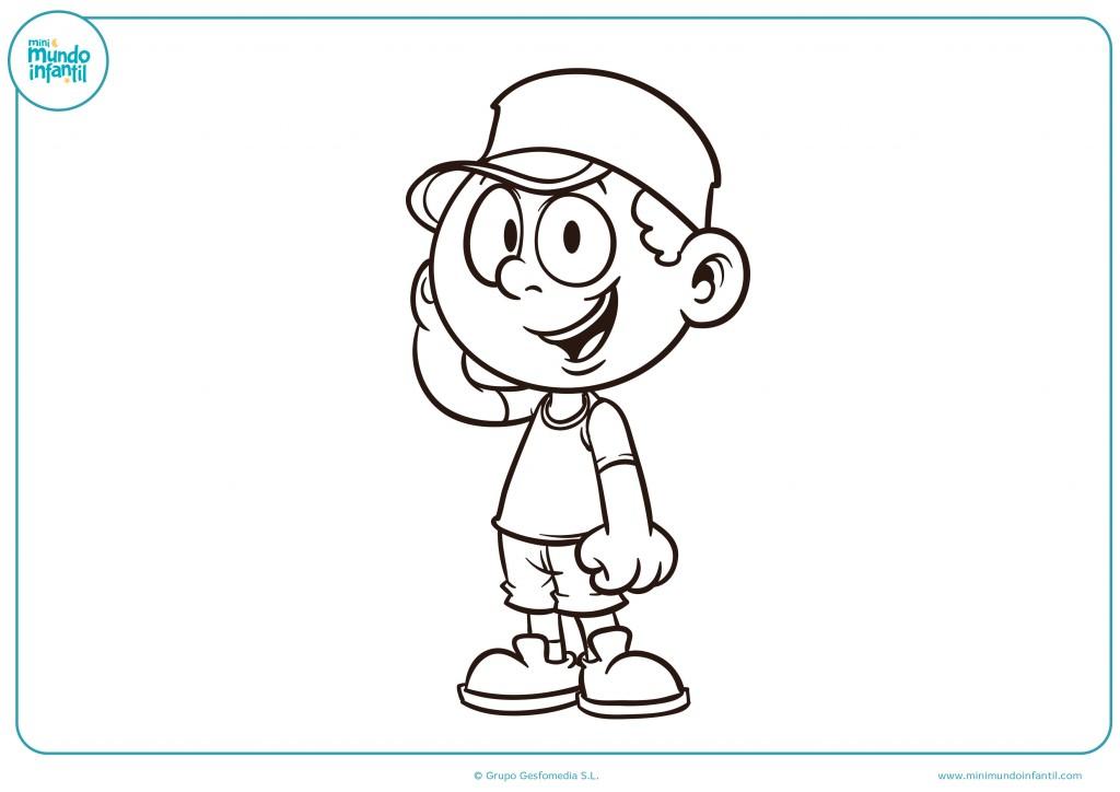 Colorea este dibujo de el niño con gorra