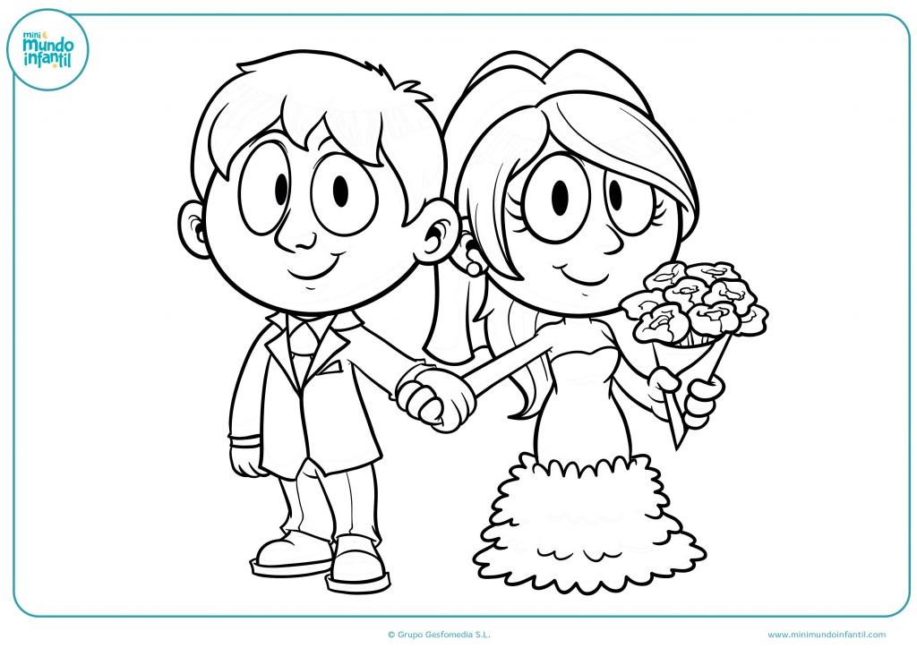 Pinta con colores el dibujo de unos novios en una boda