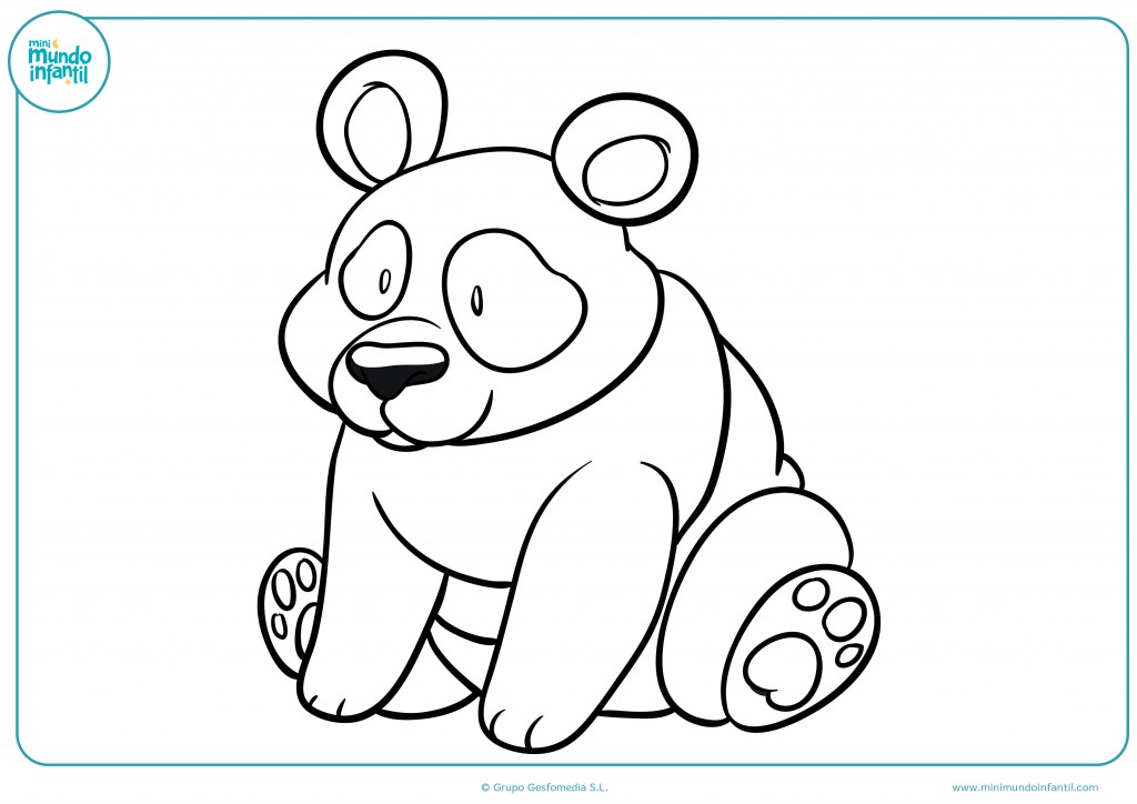 Dibujo de un oso panda con nariz negra para pintar sin salirte de los bordes