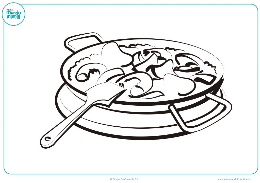 Descarga este dibujo de la paella y colorealo