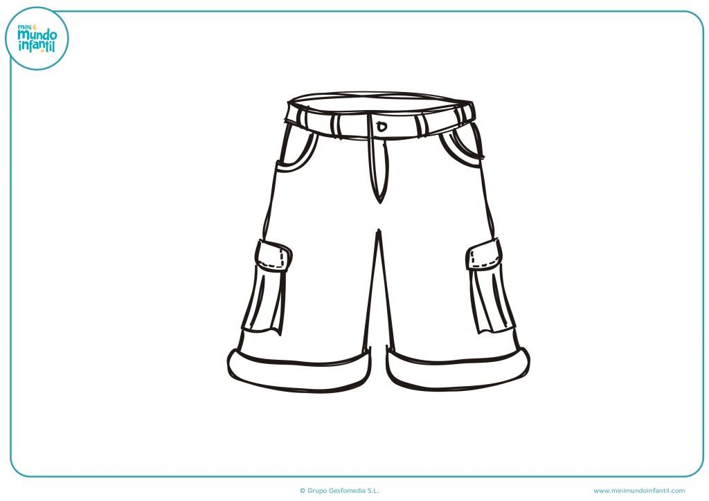 Decora el dibujo de unos pantalones con bolsillos