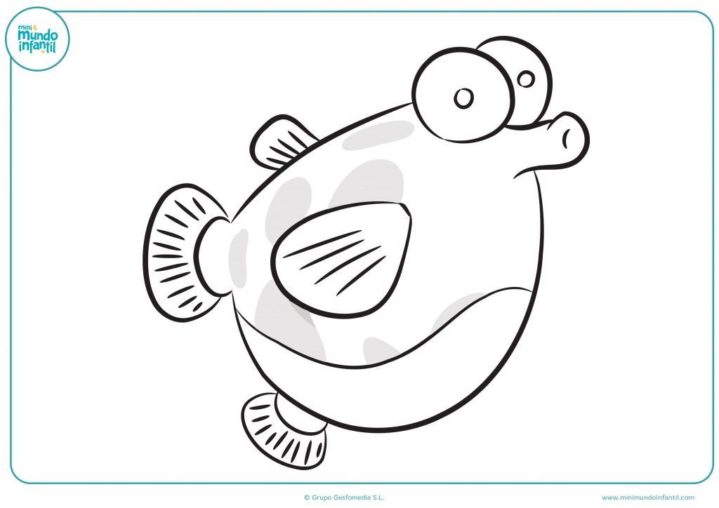Dibujo de pez tipo globo para pintar con colores llamativos