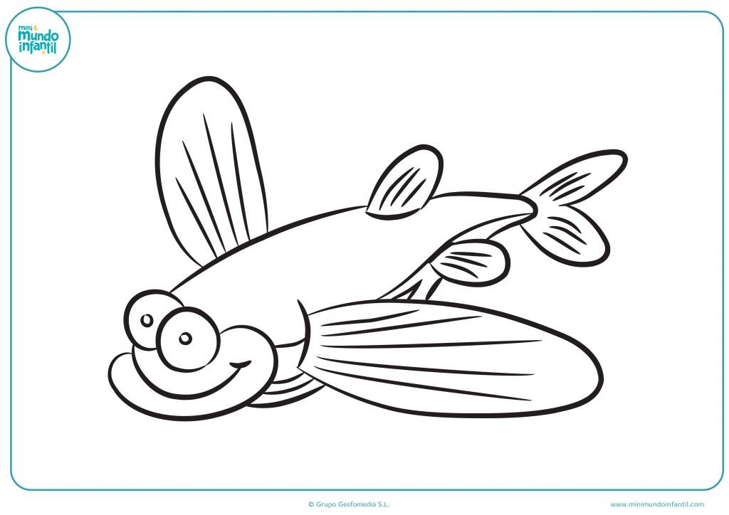 Termina este dibujo de un pez volador rellenándolo de color
