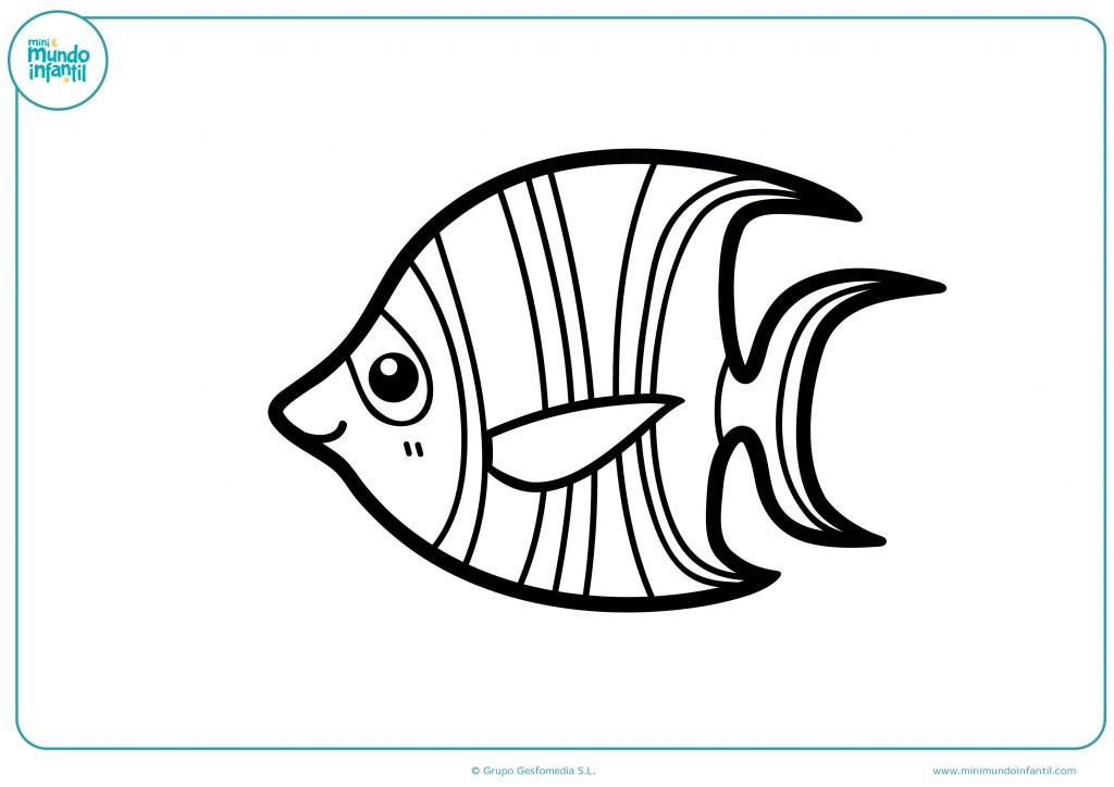 Dibujo para colorear con ceras de un pez contento