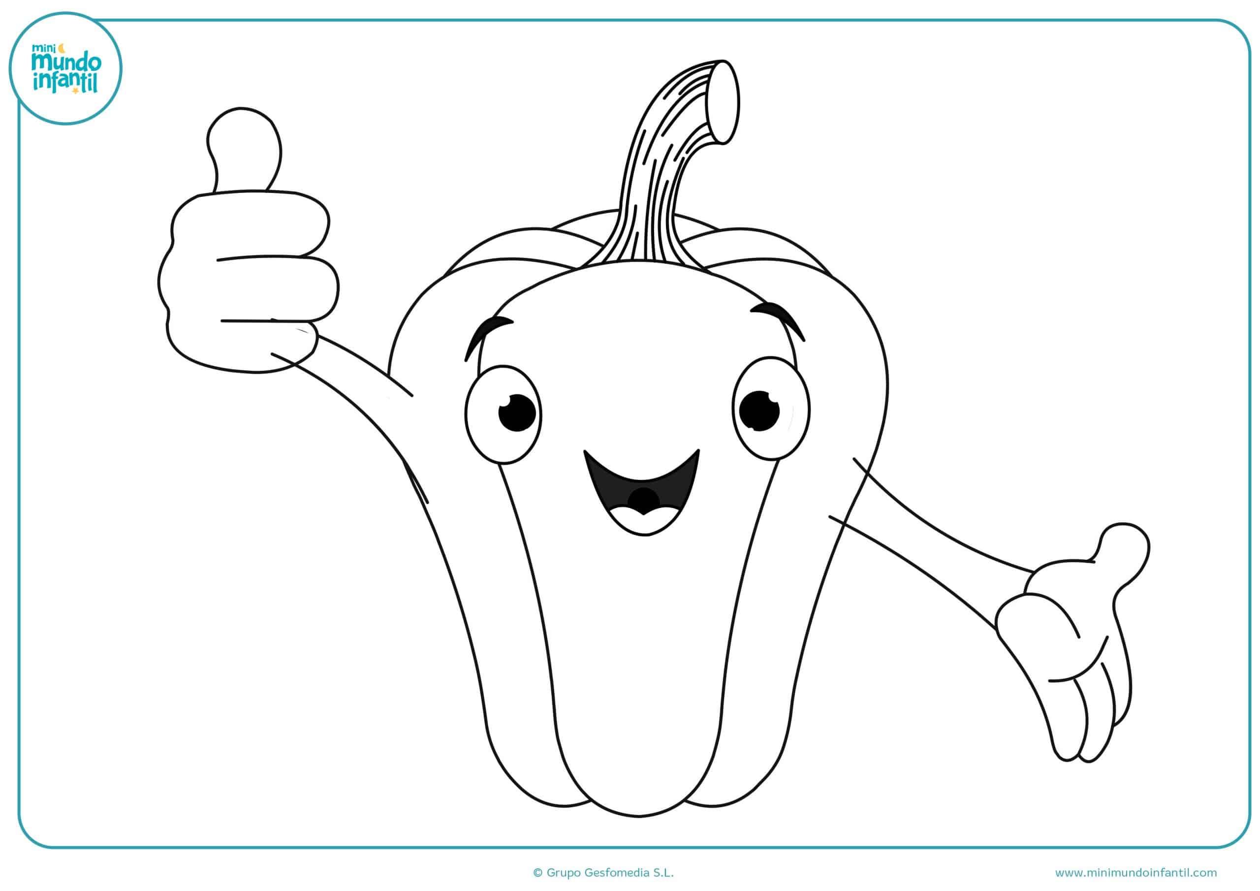 Colorear dibujos verduras gratis