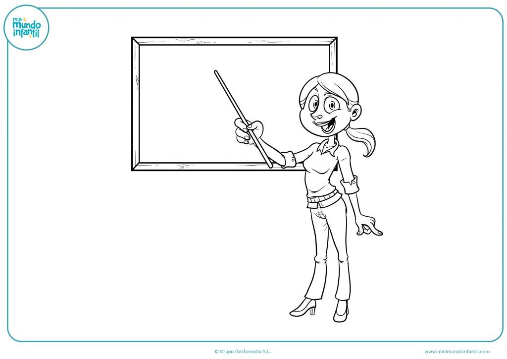Rellena con colores el dibujo de la profesora en clase