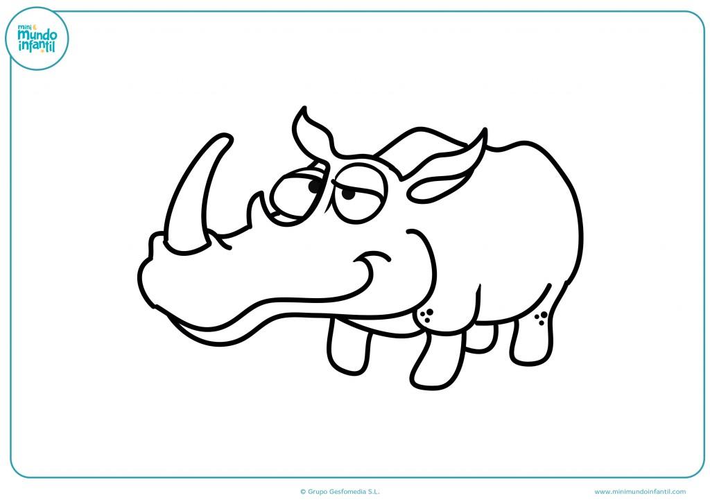 No te olvides de colorear el cuerno del rinoceronte para que esté feliz