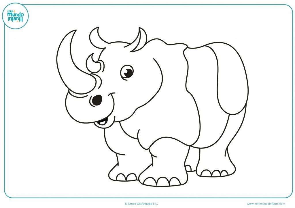Imagen de un rinoceronte con rayas para que los niños de infantil lo coloreen