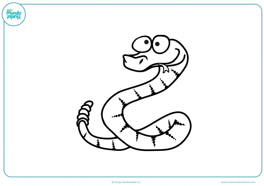 Serpiente con cascabel y con lengua fuera para pintar de varios colores