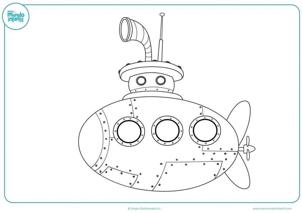 Pinta como más te guste el dibujo del submarino
