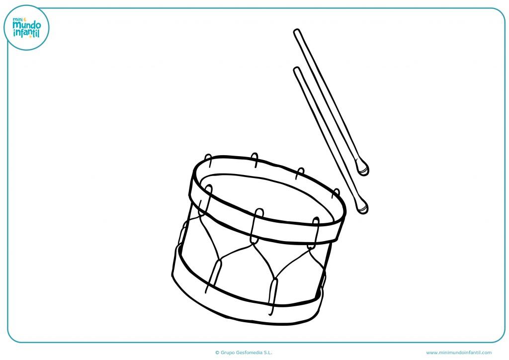 Descarga el dibujo de un tambor para colorear