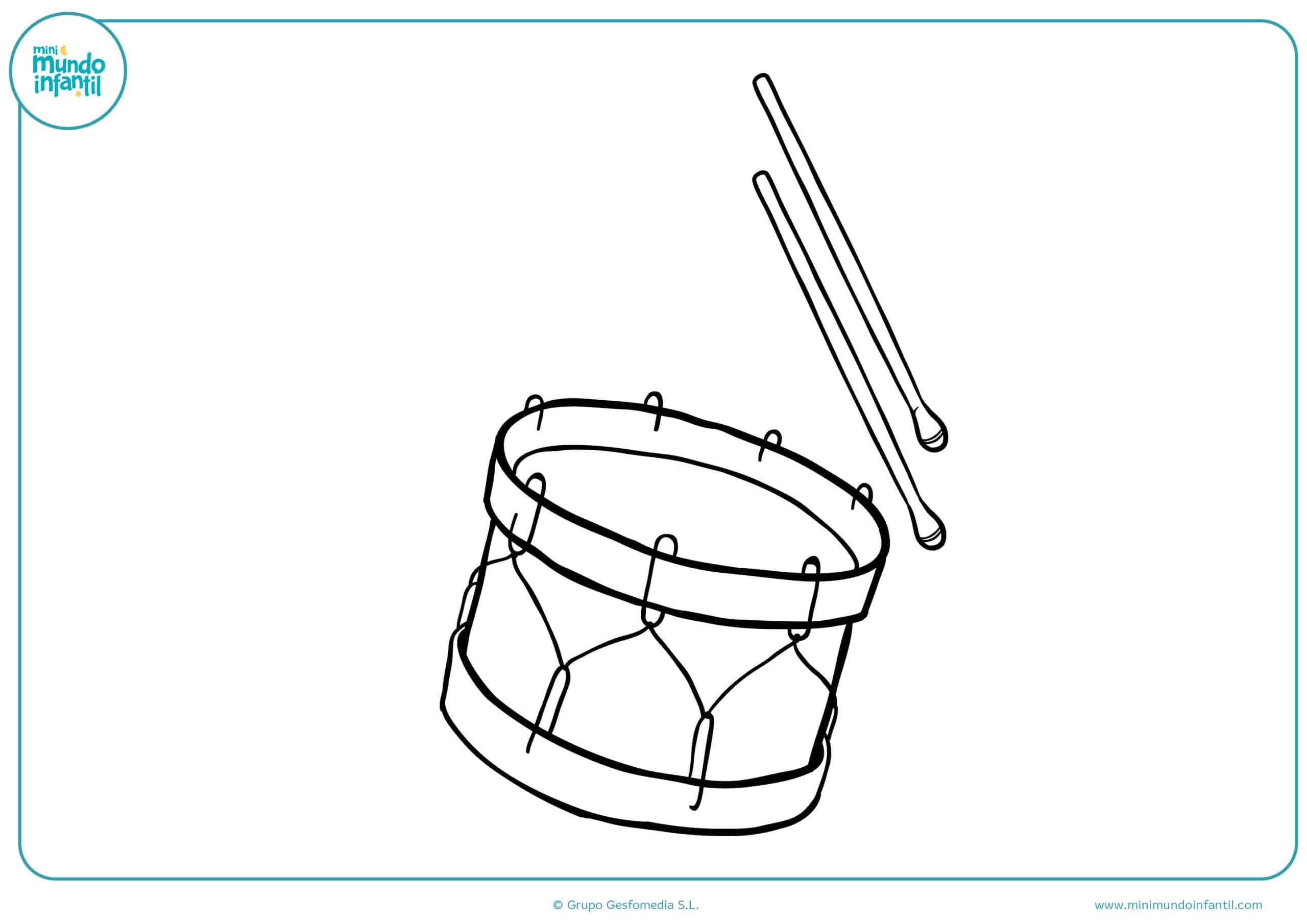 Dibujos colorear instrumentos musicales niñas