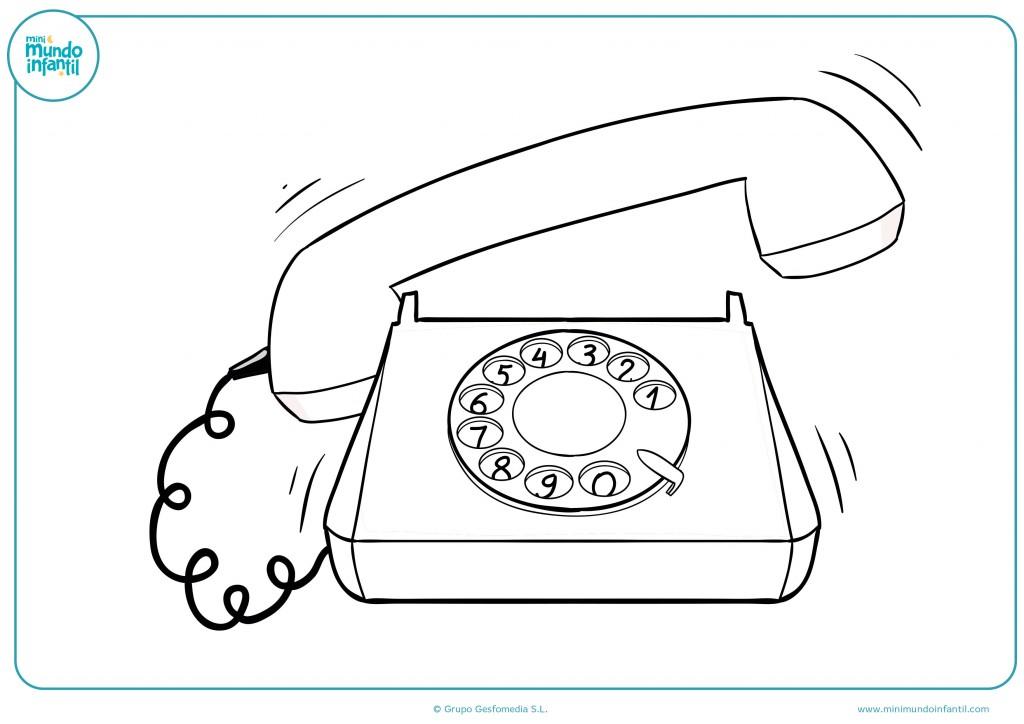 Colorea el dibujo de un teléfono de ruleta