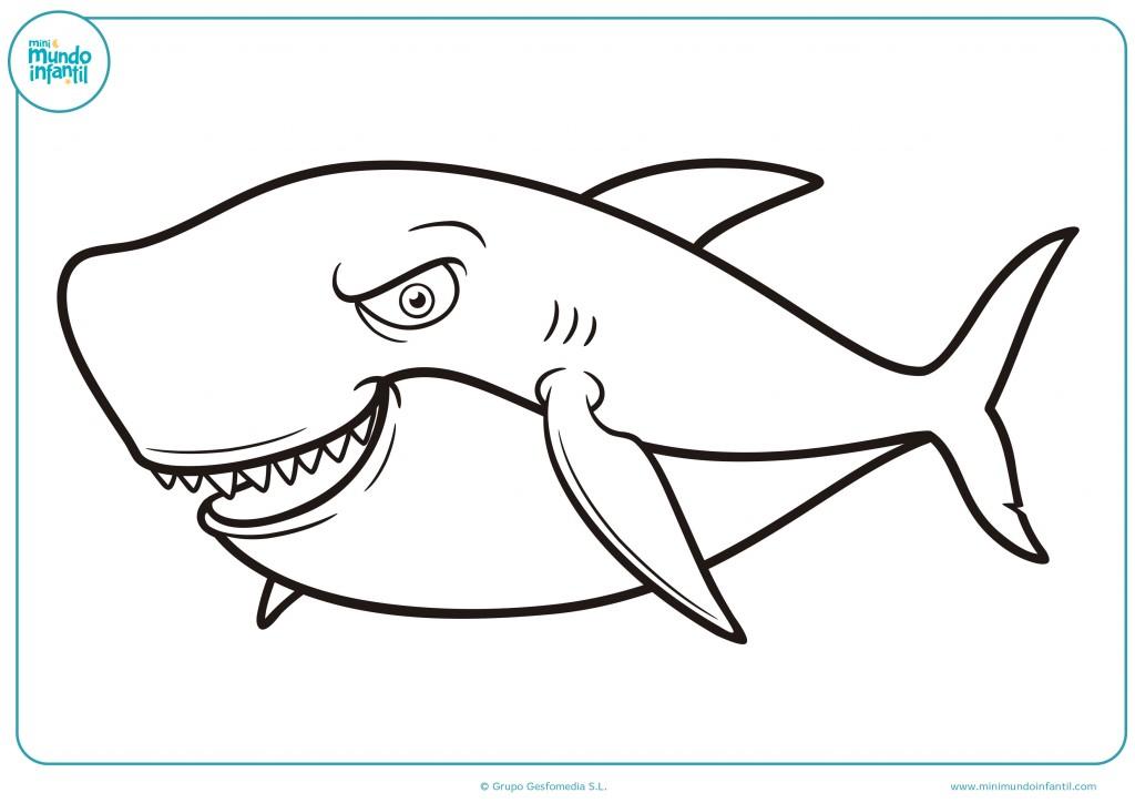 Tiburón malvado y muy peligroso para pintar como desees