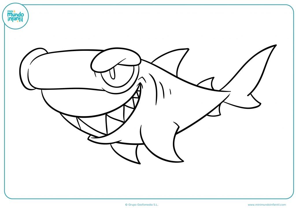 Descarga y pinta el tiburón con mirada perversa