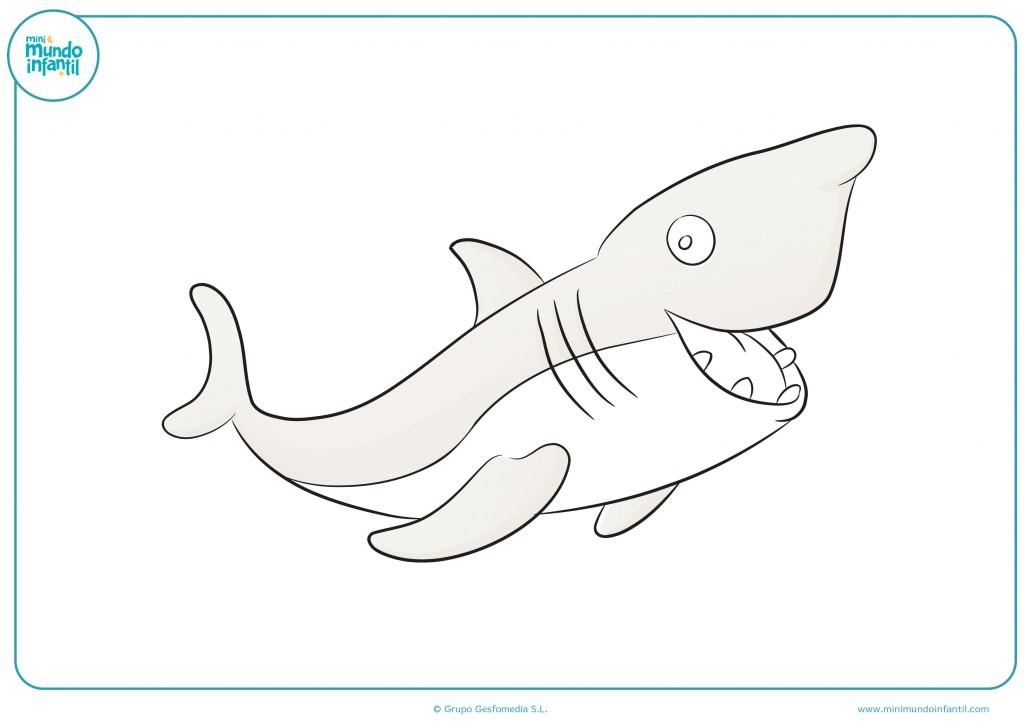 Colorea el tiburón gracioso con los colores que tú quieras