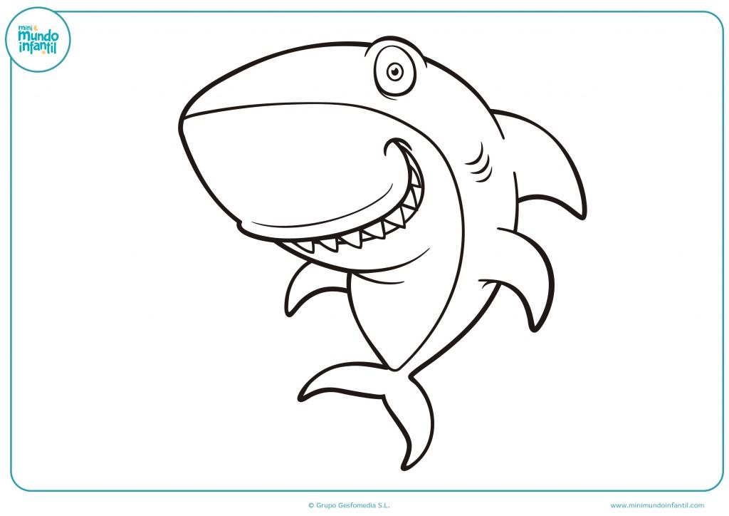 Dibujo de un tiburón bailarín para colorear con pintutas de colores