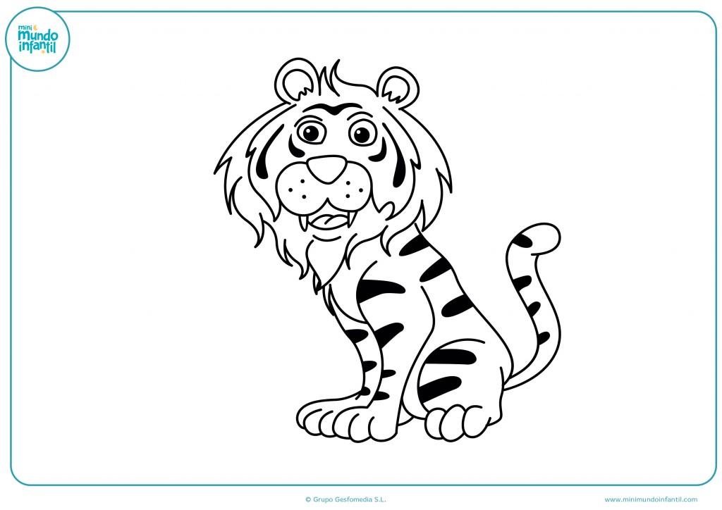 Pintar con colores el tigre con rayas negras como más te apetezca