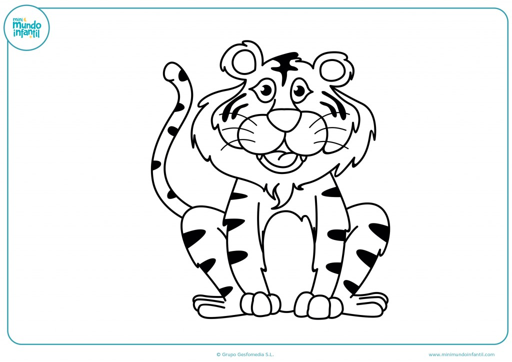 Imagen de un tigre sentado para completar el dibujo para infatil