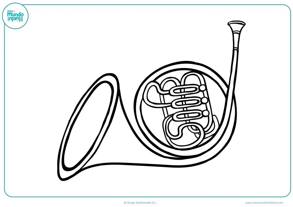 Colorea el dibujo de la trompa