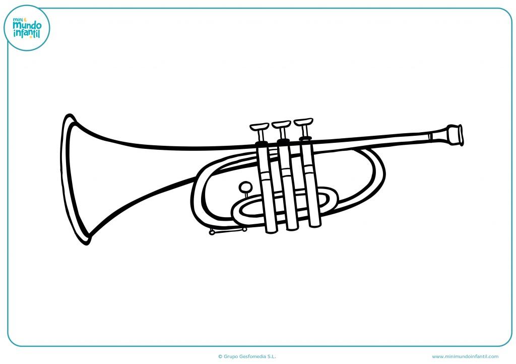 Colorea con ceras el dibujo de una trompeta