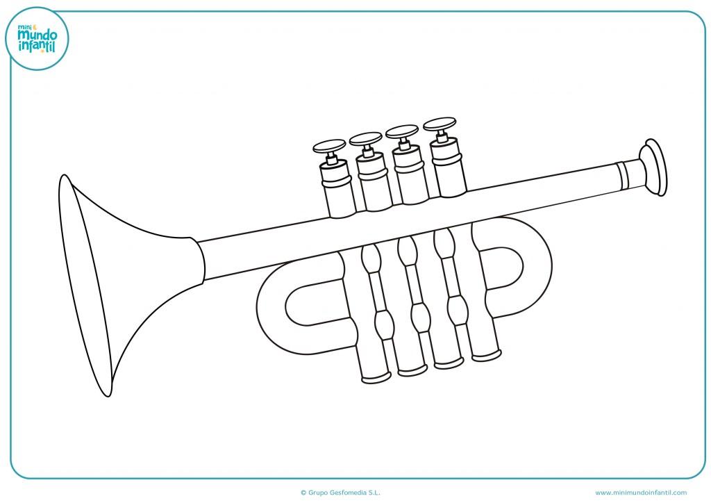 Pinta con rotuladores el dibujo de una trompeta