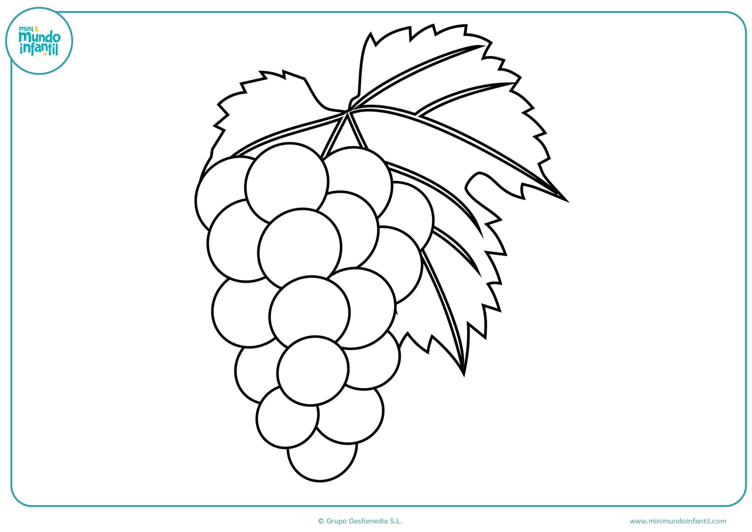 Colorear dibujos infantiles frutas