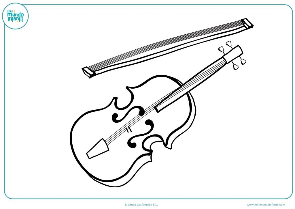 Descarga el dibujo de un violín y coloréalo