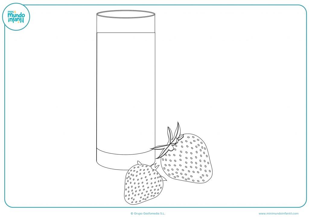 Colorea el vaso del zumo de fresa con rotulador o ceras