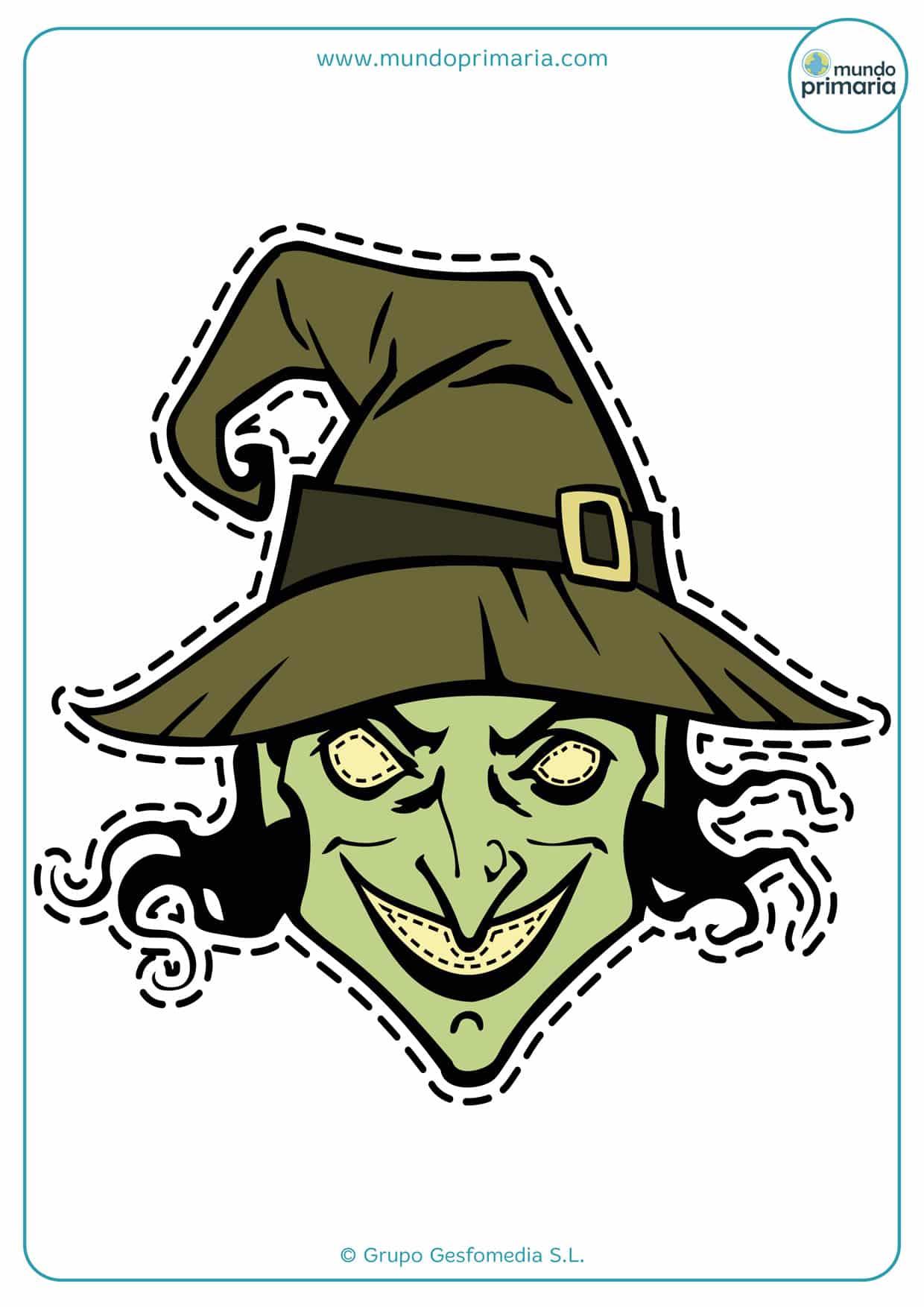 Imprime en casa la careta de la malvada bruja de Halloween para asustar a todos.