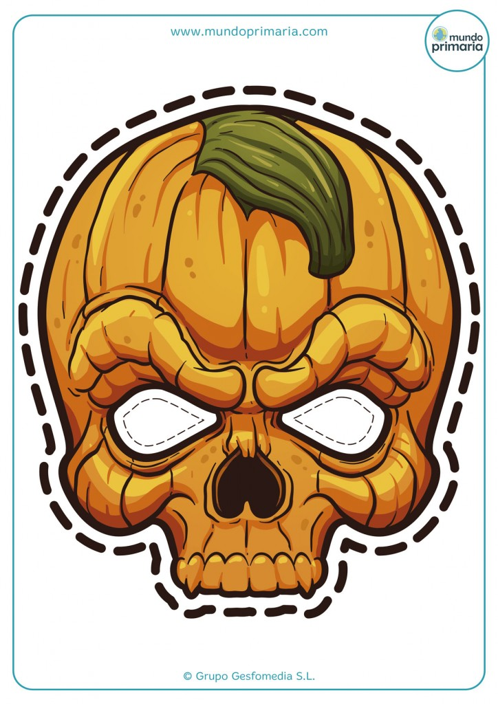 Careta imprimible de calabaza para Halloween