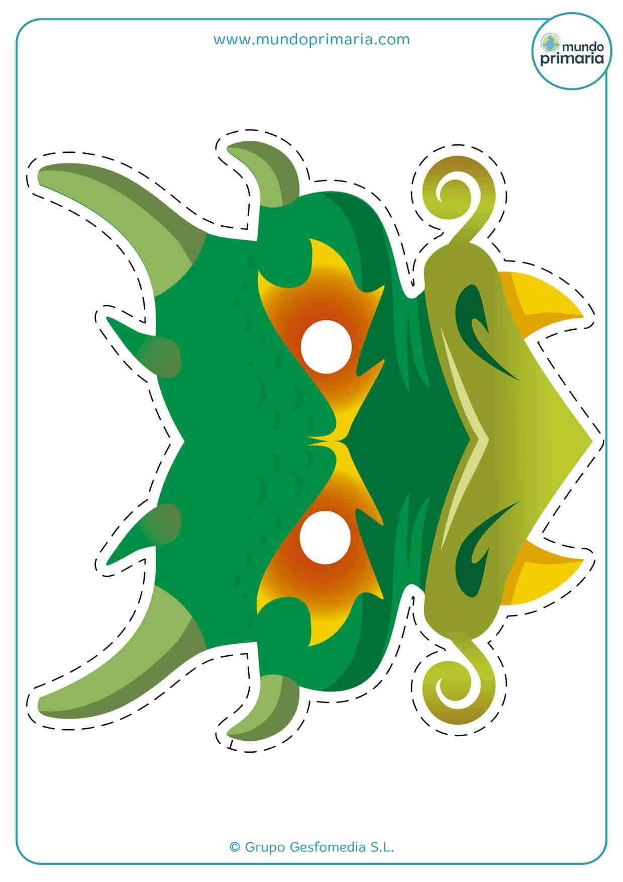 Terrorífica careta de un dragón verde.