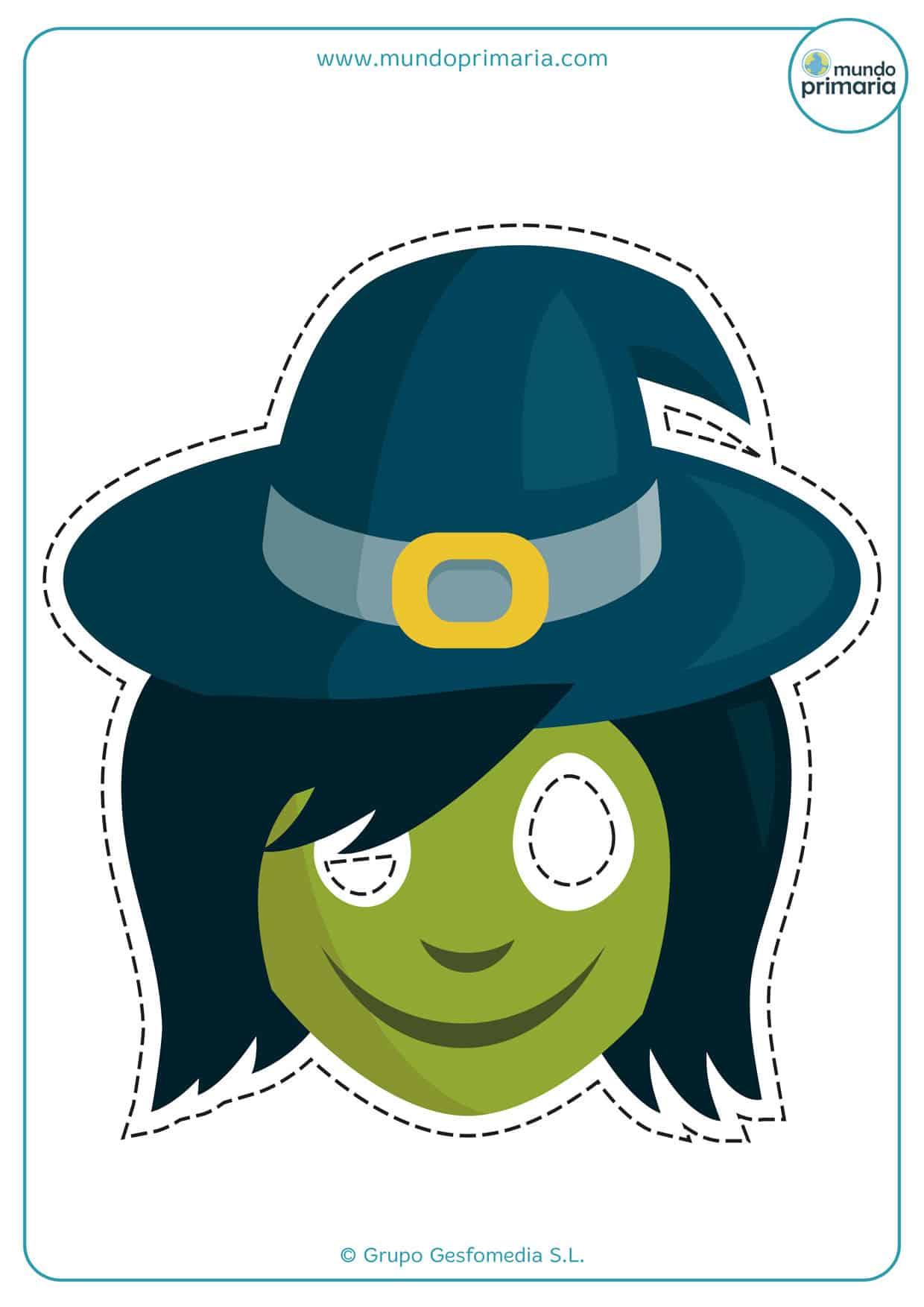 Careta de bruja con la cara verde