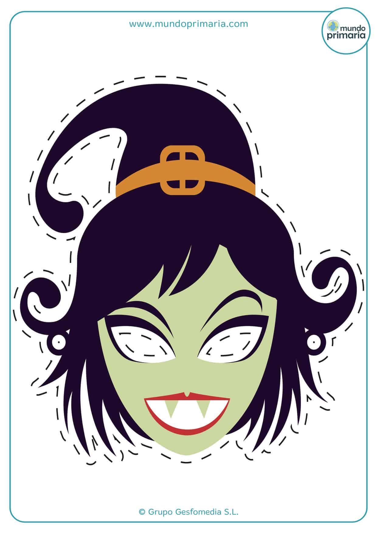 Careta de bruja para imprimir en Halloween y asustar a todos