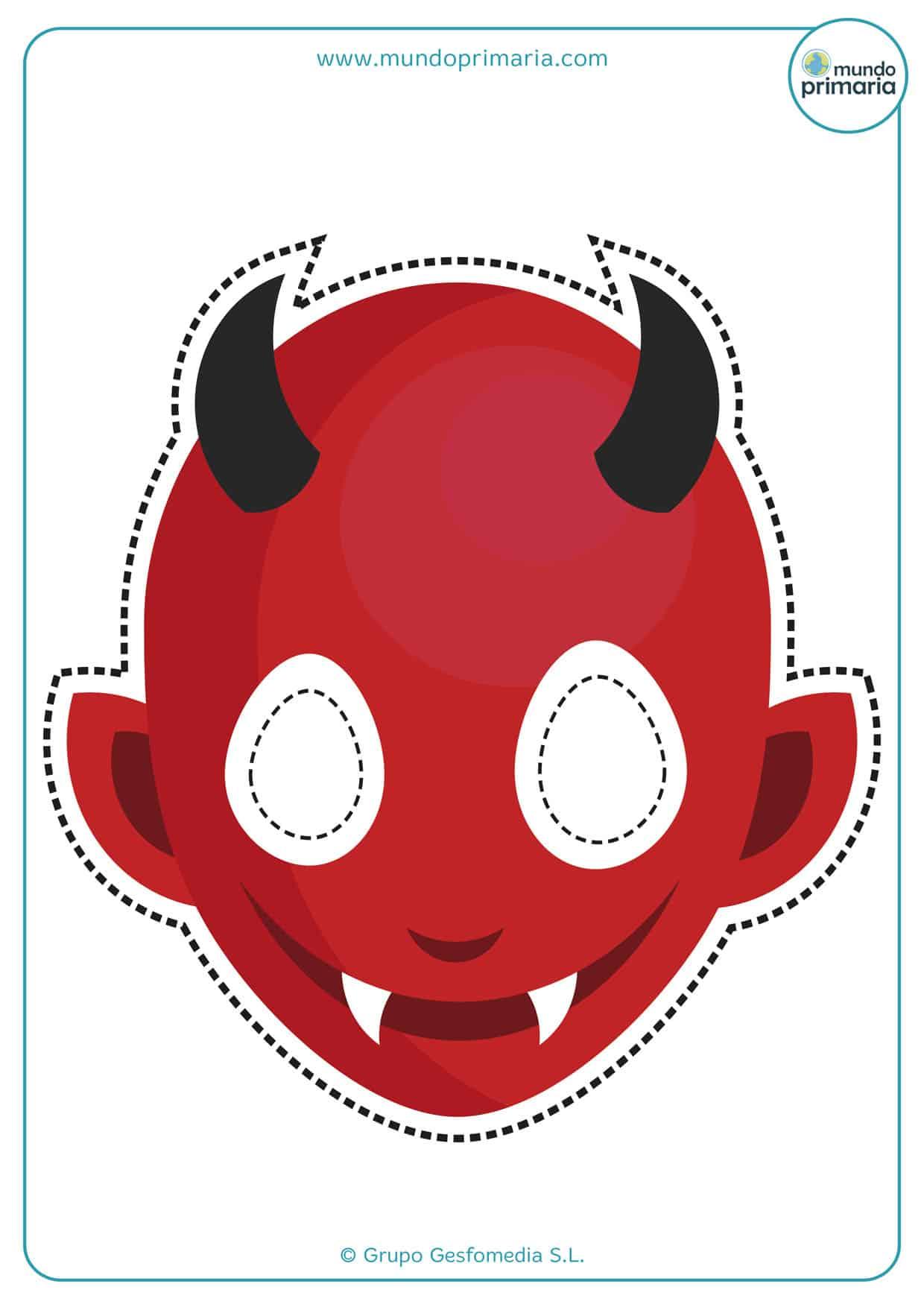 Careta de diablo de color rojo con cuernos