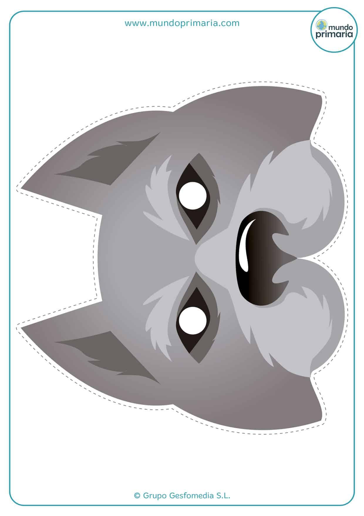 Careta de hombre lobo para imprimir de color gris