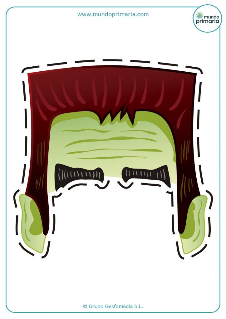 Careta para disfraz casero del monstruo de Frankenstein