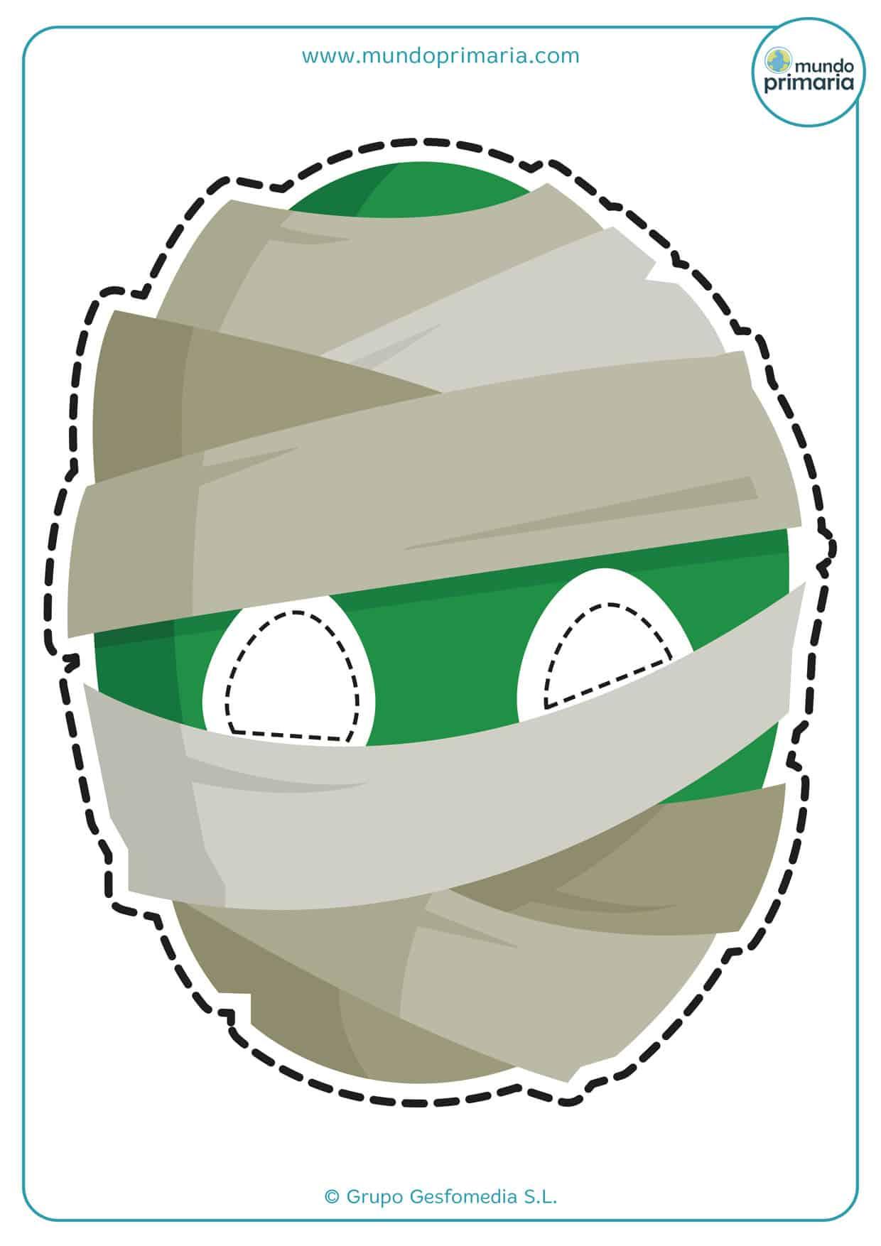 caretas de momias para imprimir de color verde