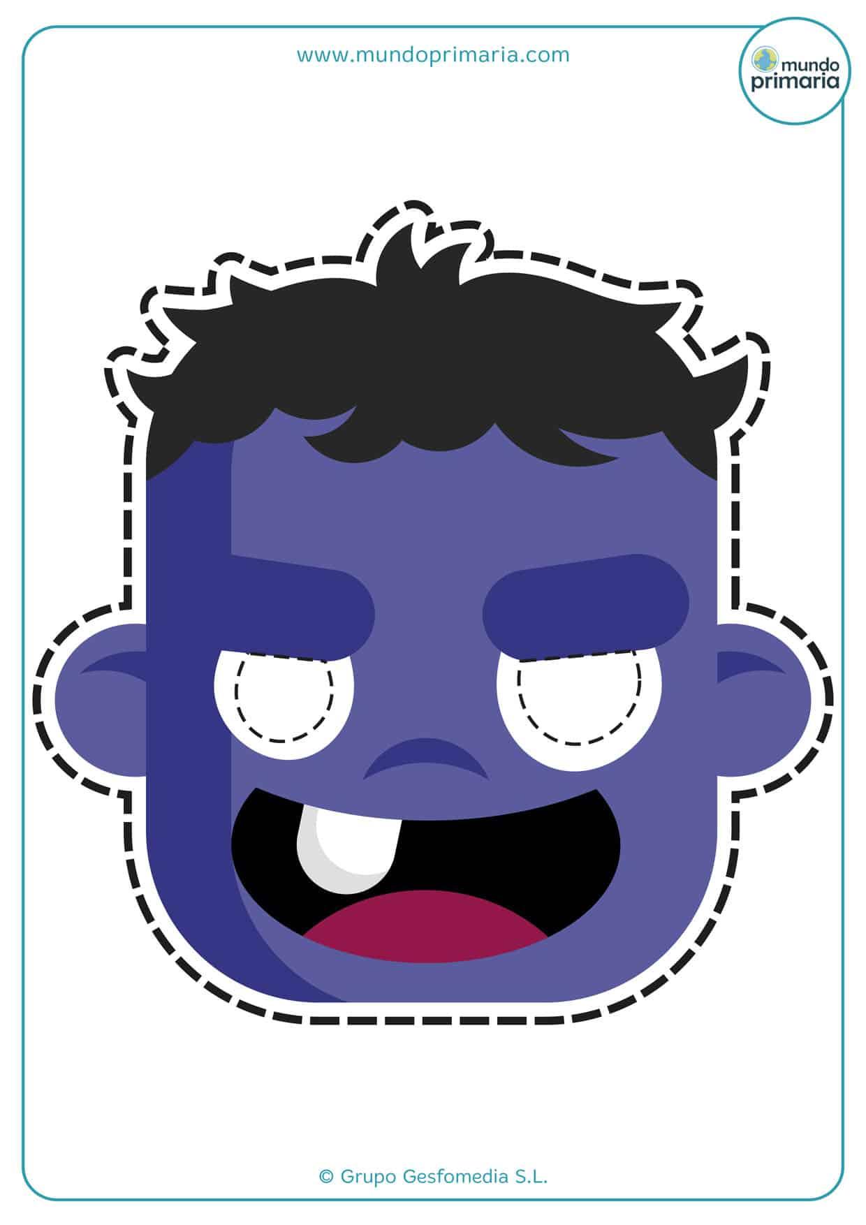 La careta de monstruo de Halloween con un diente