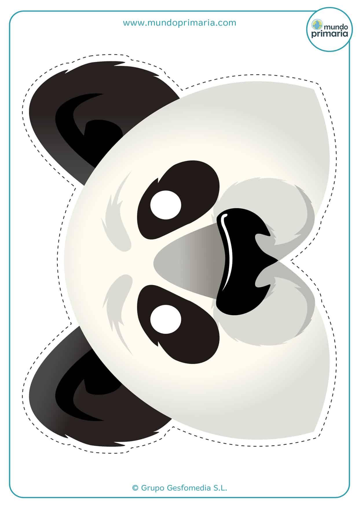 Careta de oso panda para imprimir y recortar