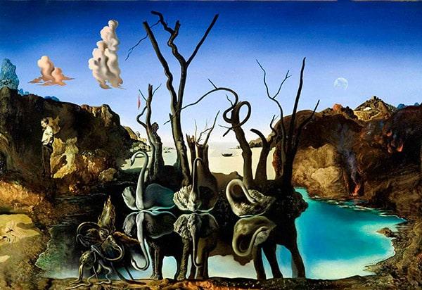 Cisnes que se reflejan como elefantes.-1937-Salvador Dalí